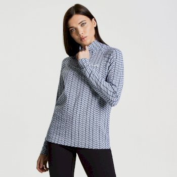 Dare2b Women's Motif II Luxe Ski Midlayer Sweater White Blue Wing