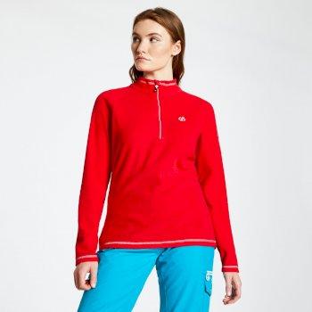 Freeform - Damen Pullover mit Reißverschluss - leichtes Fleece Lollipop-Rot