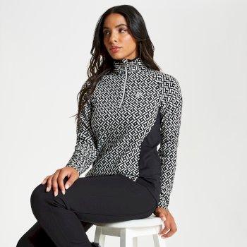 Confirm Luxe - Damen Midlayer-Shirt mit Reißverschluss - Stretch Black White