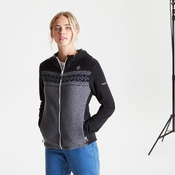 Herald Fleece-Sweatshirt mit Kapuze und durchgehendem Reißverschluss für Damen Schwarz