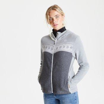 Herald Fleece-Sweatshirt mit Kapuze und durchgehendem Reißverschluss für Damen Grau