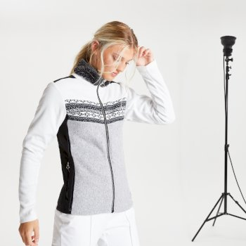 Swarovski Embellished - Overawe Luxe Fleece-Sweatshirt mit Kunstpelzkragen und durchgehendem Reißverschluss für Damen Weiß