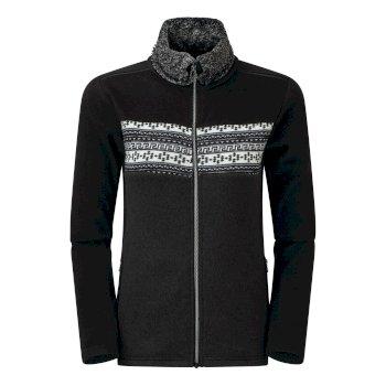 Swarovski Embellished - Overawe Luxe Fleece-Sweatshirt mit Kunstpelzkragen und durchgehendem Reißverschluss für Damen Schwarz
