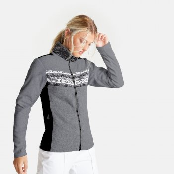 Dare 2b Swarovski Embellished - Women's Overawe Full Zip Faux Fur Collar Luxe Fleece - Mid Grey