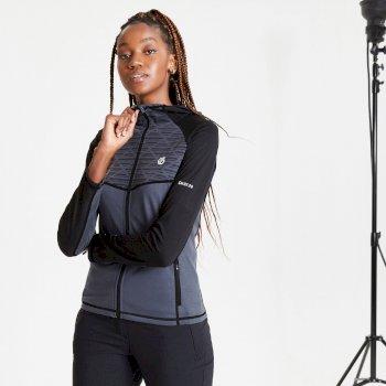 Pensive Woll-Stretch-Midlayer mit Kapuze und durchgehendem Reißverschluss für Damen Schwarz
