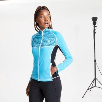 Pensive Woll-Stretch-Midlayer mit Kapuze und durchgehendem Reißverschluss für Damen Blau