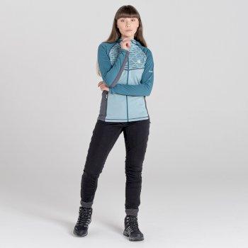 Pensive Woll-Stretch-Midlayer mit Kapuze und durchgehendem Reißverschluss für Damen Grau