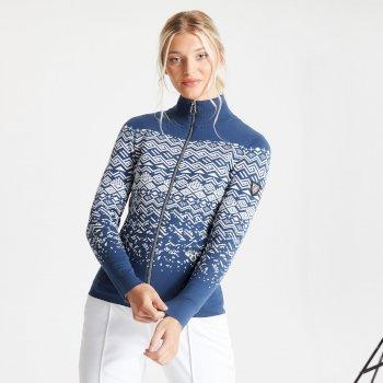 Swarovski Embellished - Lucent Luxe Sweatshirt mit durchgehendem Reißverschluss für Damen Blau