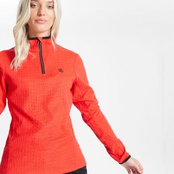 Excite Luxe Fleece mit halblangem Reißverschluss und Krokoprint für Damen Rot