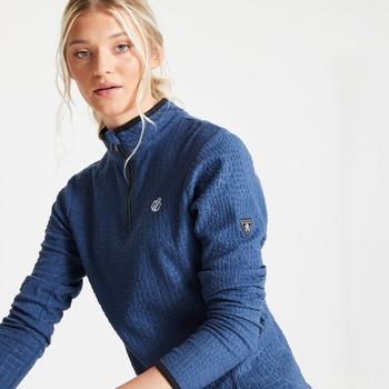 Swarovski Embellished - Excite Luxe Fleece mit halblangem Reißverschluss und Krokoprint für Damen Blau
