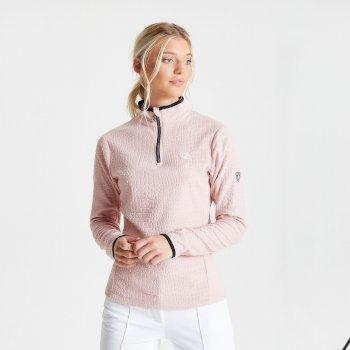 Swarovski Embellished - Excite Luxe Fleece mit halblangem Reißverschluss und Krokoprint für Damen Sahne