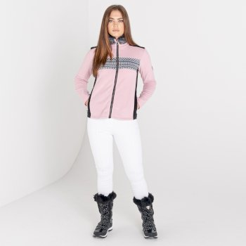 Mit Swarovski verziert - Engross luxuriöses Damen-Sweatshirt mit durchgehendem Reißverschluss und Kunstpelzbesatz Rosa
