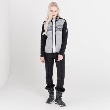 Mit Swarovski verziert - Engross luxuriöses Damen-Sweatshirt mit durchgehendem Reißverschluss und Kunstpelzbesatz Grau