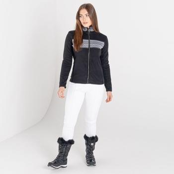 Mit Swarovski verziert - Engross luxuriöses Damen-Sweatshirt mit durchgehendem Reißverschluss und Kunstpelzbesatz Schwarz