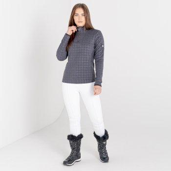 Mit Swarovski verziert - Savvy luxuriöses Fleece mit Hahnentrittmuster und halblangem Reißverschluss für Damen Grau