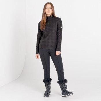 Mit Swarovski verziert - Savvy luxuriöses Fleece mit Hahnentrittmuster und halblangem Reißverschluss für Damen Schwarz