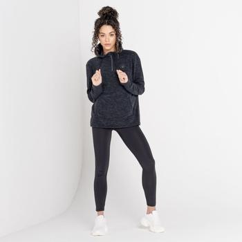 Mit Swarovski verziert - Obsessed luxuriöses Damen-Fleece mit halblangem Reißverschluss und Kapuze mit Kordelzug Schwarz