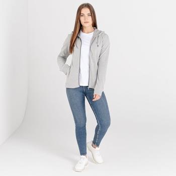 Mit Swarovski verziert - Influence luxuriöser Damen-Hoodie mit durchgehendem Reißverschluss und Kordelzug Grau