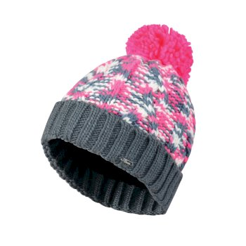 Dare2b Women's Risol Bobble Beanie Hat Luminous Pink Mercury Grey