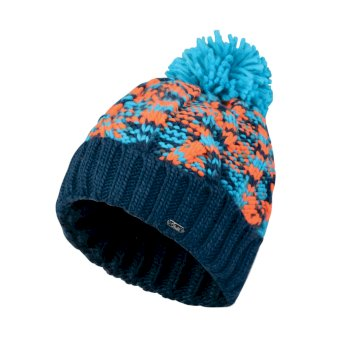 Dare2b Women's Risol Bobble Beanie Hat Aqua Blue Vibrant Orange