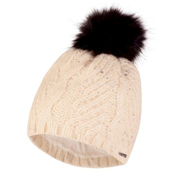 Dare2b Women's Crystalized Bobble Beanie Hat White