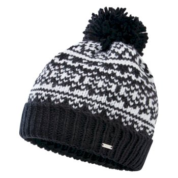 Dare 2b Women's Headlines II Fleece Lined Knit Bobble Beanie - Black White