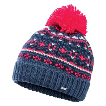 Dare 2b Women's Headlines II Fleece Lined Knit Bobble Beanie - Dark Denim Neon Pink