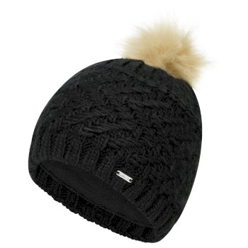 Dare 2b Women's Radiance II Fleece Lined Faux Fur Bobble Knit Beanie - Black
