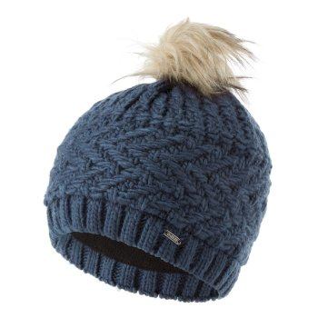 Dare 2b Women's Radiance II Fleece Lined Faux Fur Bobble Knit Beanie - Dark Denim