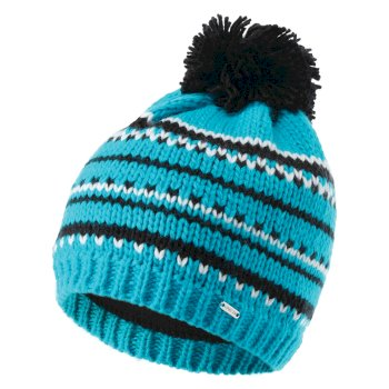 Dare 2b Women's Vibrant Fleece Lined Knit Bobble Beanie - Azure Blue Black