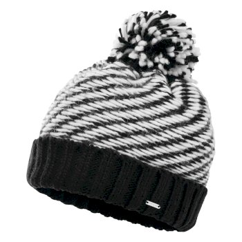 Dare 2b Women's Kudos Fleece Lined Knit Bobble Beanie - Black White