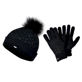 Dare 2b Swarovski Embellished - Women's Bejewel Knitted Hat & Glove Embellished Luxe Set - Black