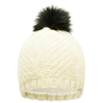 Remind Mütze mit Kunstpelz-Bommel für Damen Weiß