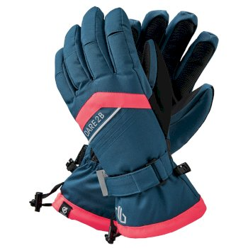Dare 2b Women's Charisma Waterproof Insulated Ski Gloves - Dark Denim Neon Pink
