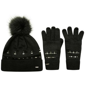 Mit Swarovski verziert - Bejewel II Geschenkeset aus Mütze & Handschuhen für Damen Schwarz