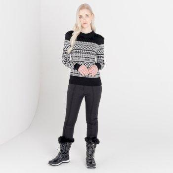 Mit Swarovski verziert - Fate luxuriöses Sweatshirt zum Drüberziehen mit hohem Kragen für Damen  Schwarz