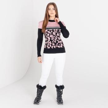 Mit Swarovski verziert - Fate luxuriöses Sweatshirt zum Drüberziehen mit hohem Kragen für Damen  Rosa