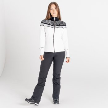 Mit Swarovski verziert - Bejewel Strick-Sweatshirt mit durchgehendem Reißverschluss für Damen Weiß