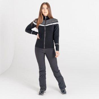 Mit Swarovski verziert - Bejewel Strick-Sweatshirt mit durchgehendem Reißverschluss für Damen Schwarz
