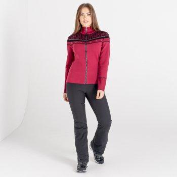 Mit Swarovski verziert - Bejewel Strick-Sweatshirt mit durchgehendem Reißverschluss für Damen Rosa