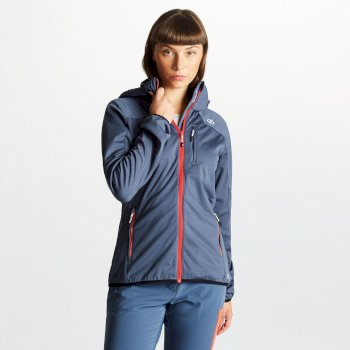 Inquire AEP Damen-Softshell-Jacke mit abnehmbarer Kapuze blaugrau
