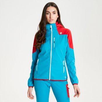Inquire AEP Damen-Softshell-Jacke mit abnehmbarer Kapuze Fresh Water Blue Lollipop Red