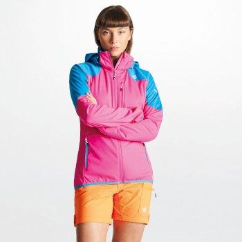 Inquire AEP Damen-Softshell-Jacke mit abnehmbarer Kapuze pink-blau