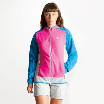 Duality II leichte Damen-Softshell-Jacke Cyber Rosa Blau Juwel
