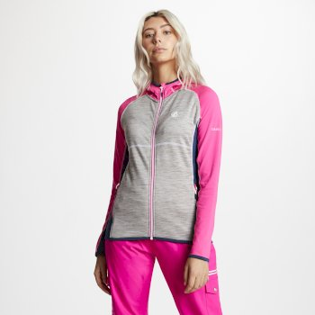Courteous leichtes Core Stretch-Midlayer mit Kapuze für Damen Cyber Pink Ash Grey Blue Wing