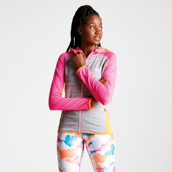 Courteous leichtes Core Stretch-Midlayer mit Kapuze für Damen Cyber Pink Shock Orange