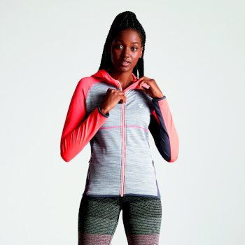 Courteous leichtes Core Stretch-Midlayer mit Kapuze für Damen Fiery Coral Quarry Grey