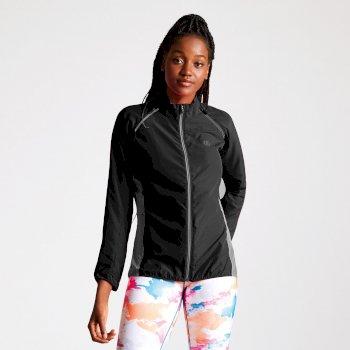 Circumspect leichte Windshell-Jacke für Damen mit abnehmbaren Ärmeln Schwarzes Meteor Grau