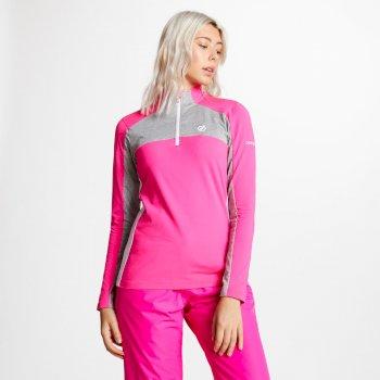 Default Core Stretch-Midlayer mit halblangem Reißverschluss für Damen Cyber Pink Ash Grey