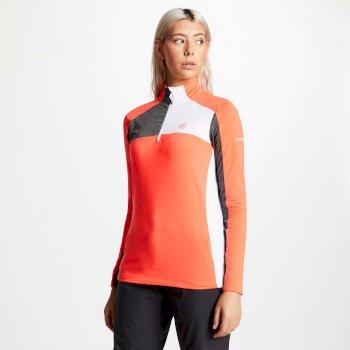Default Core - Damen Midlayer-Shirt - Stretchstoff Koralle/Dunkelgrau